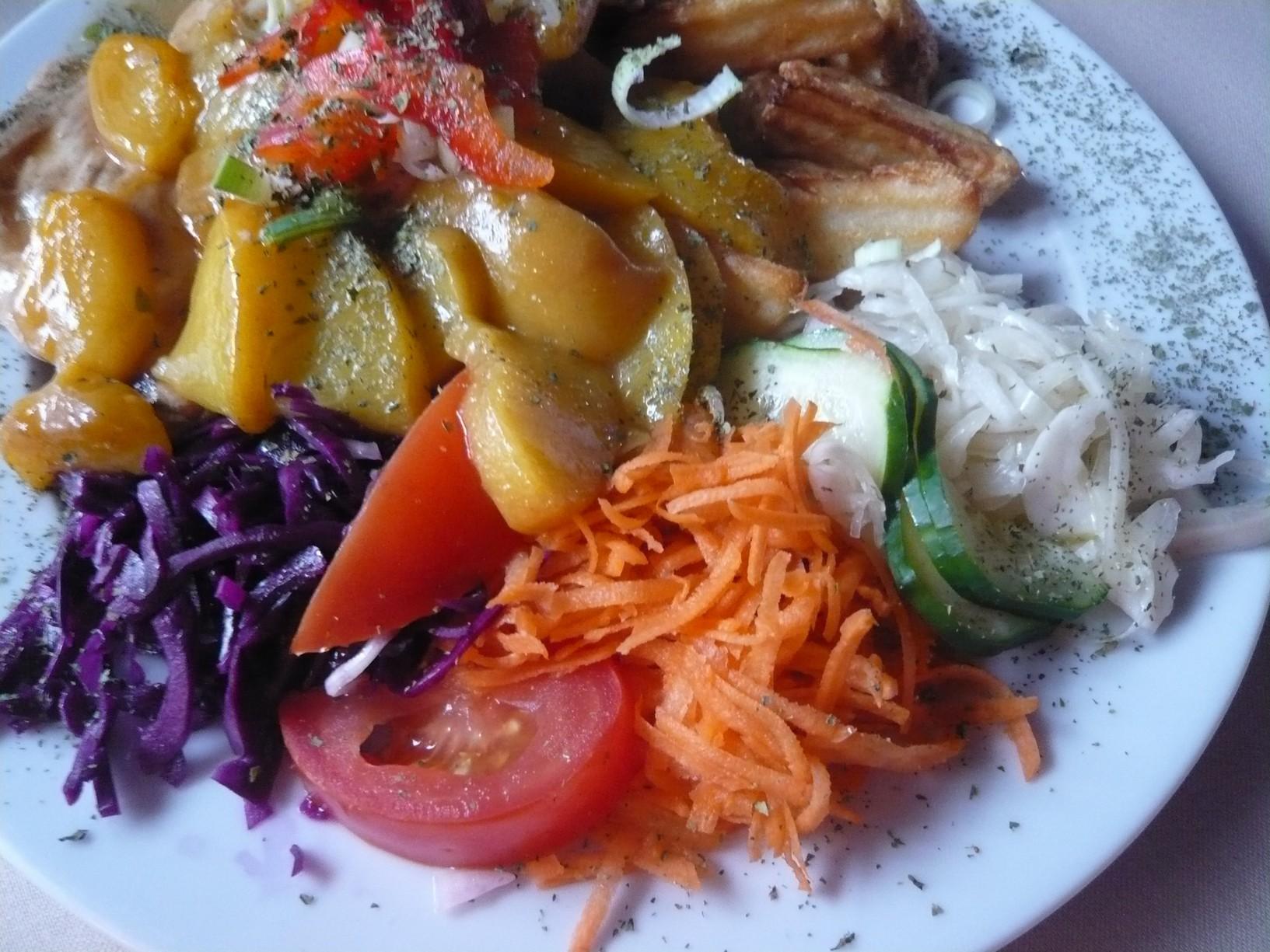 Recept Kuřecí prsa s broskví a sýrem - Kuřecí s broskví.