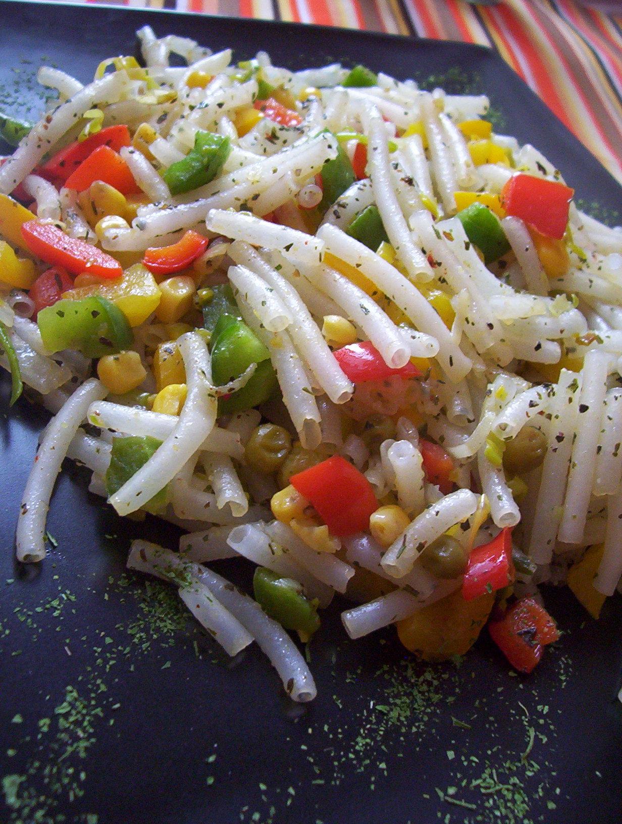 Vegetariánské rýžové těstoviny