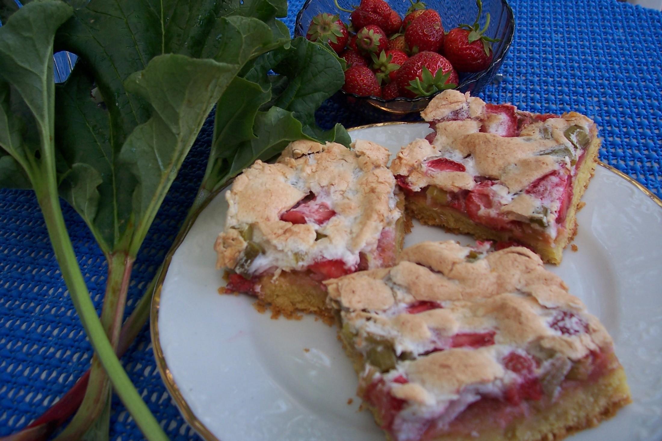 Jemný koláč s rebarborou a jahodami