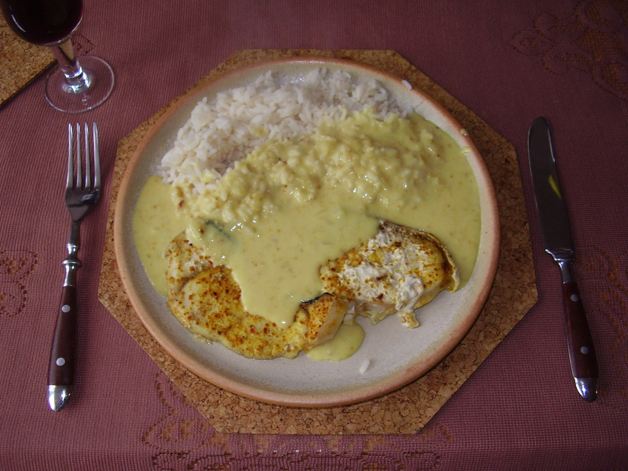 Žralok na kari omáčce s rýží