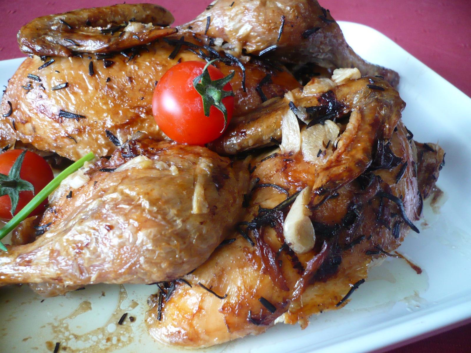 Česnekové kuře na rozmarýnu