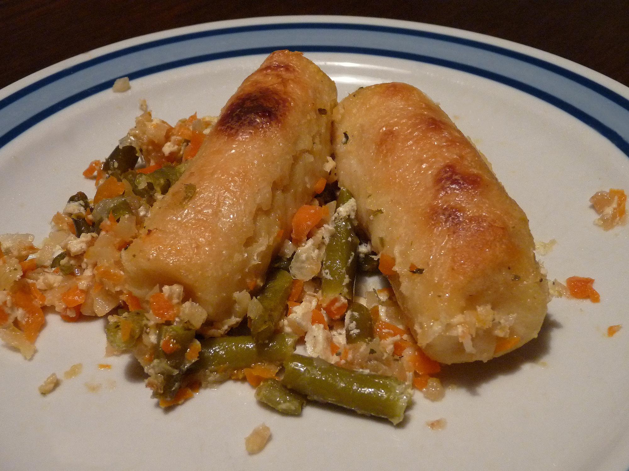 Fotografie receptu: Zapečené bramborové šišky s párkem