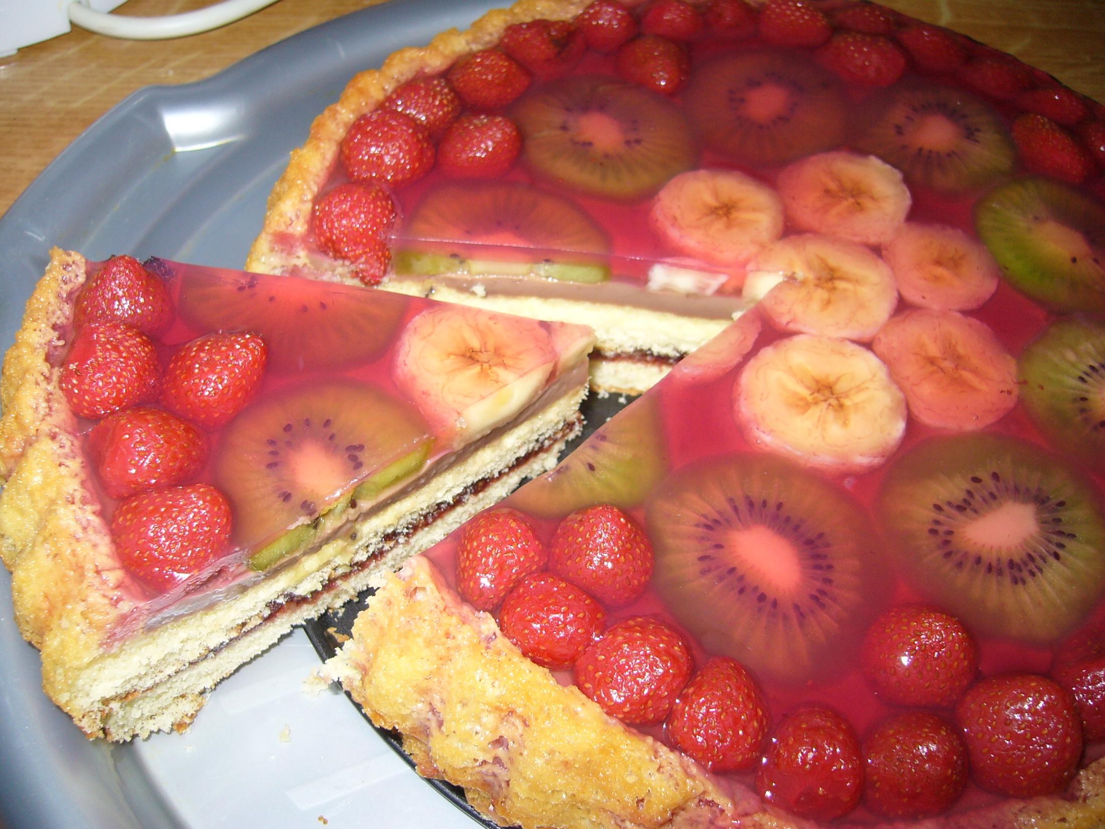 Nepečený ovocný dort s želatinou