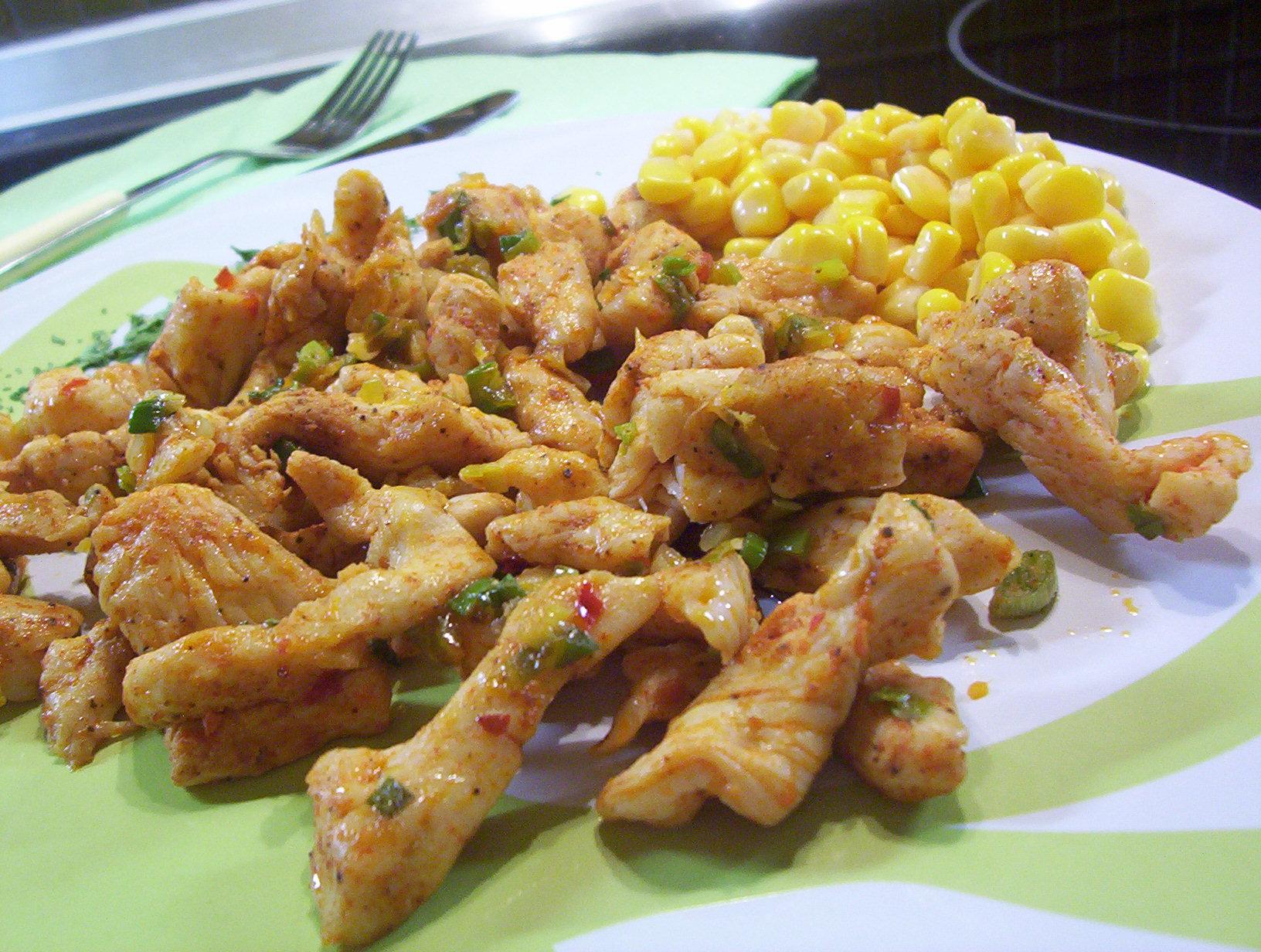 Pikantní kuřecí nudličky