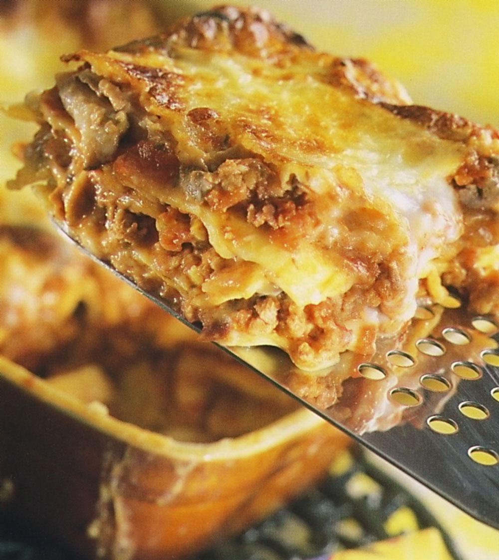 Houbové lasagne s kuřecím masem