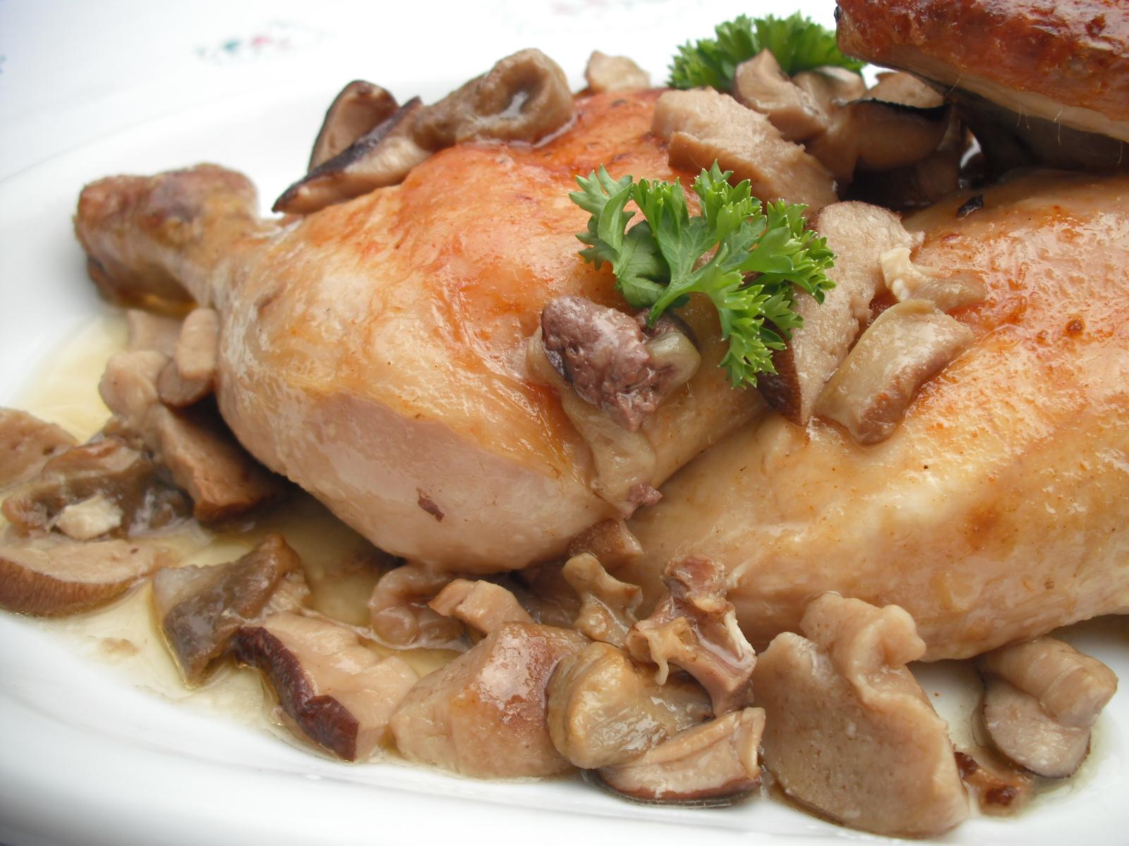 Kuře pečené na hřibech