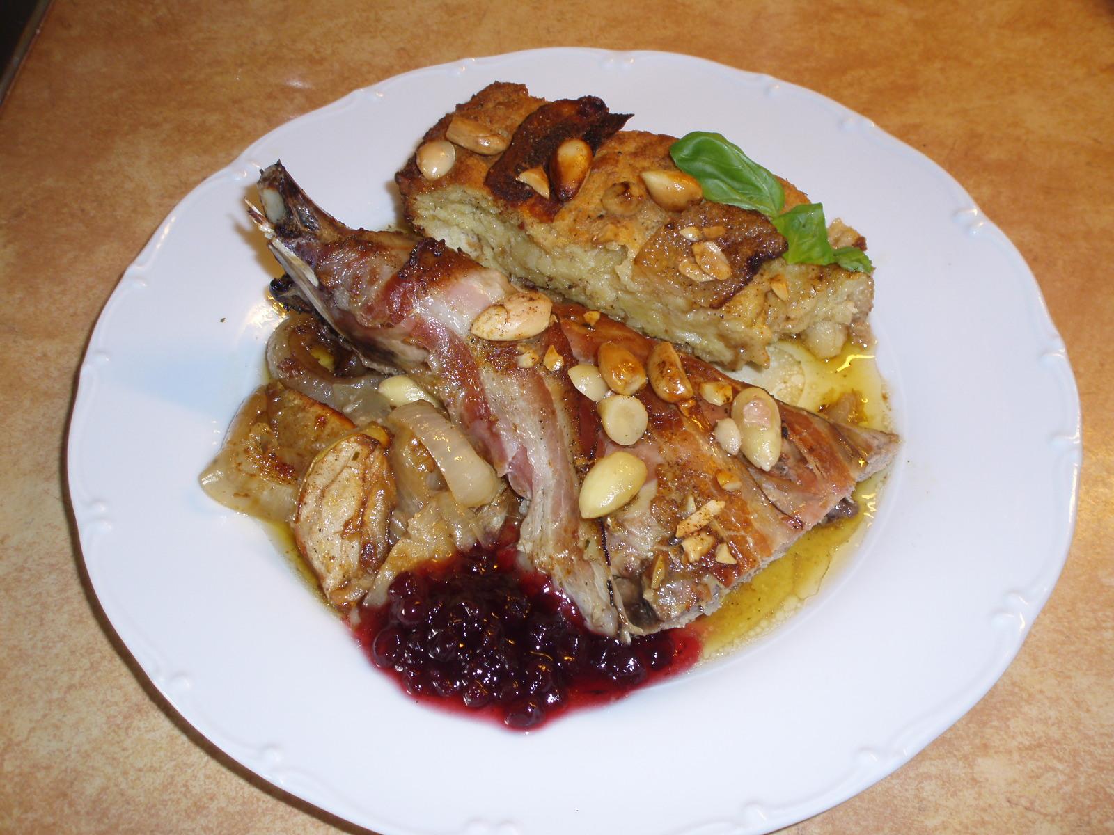 Fotografie receptu: Pečený bažant s mandlovou nádivkou