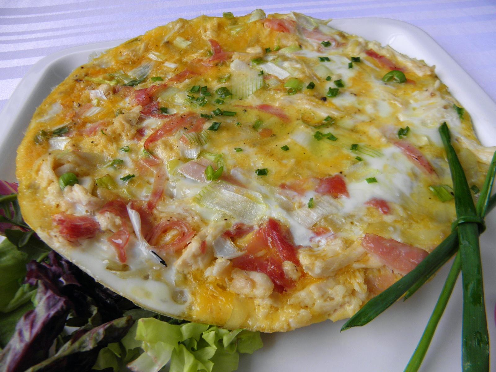 Vaječná omeleta s kuřecím