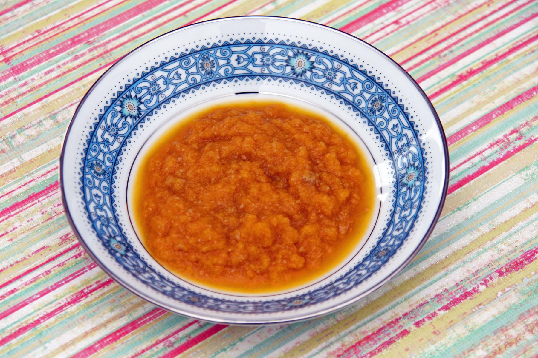 Příkrm mrkev s dušeným hovězím