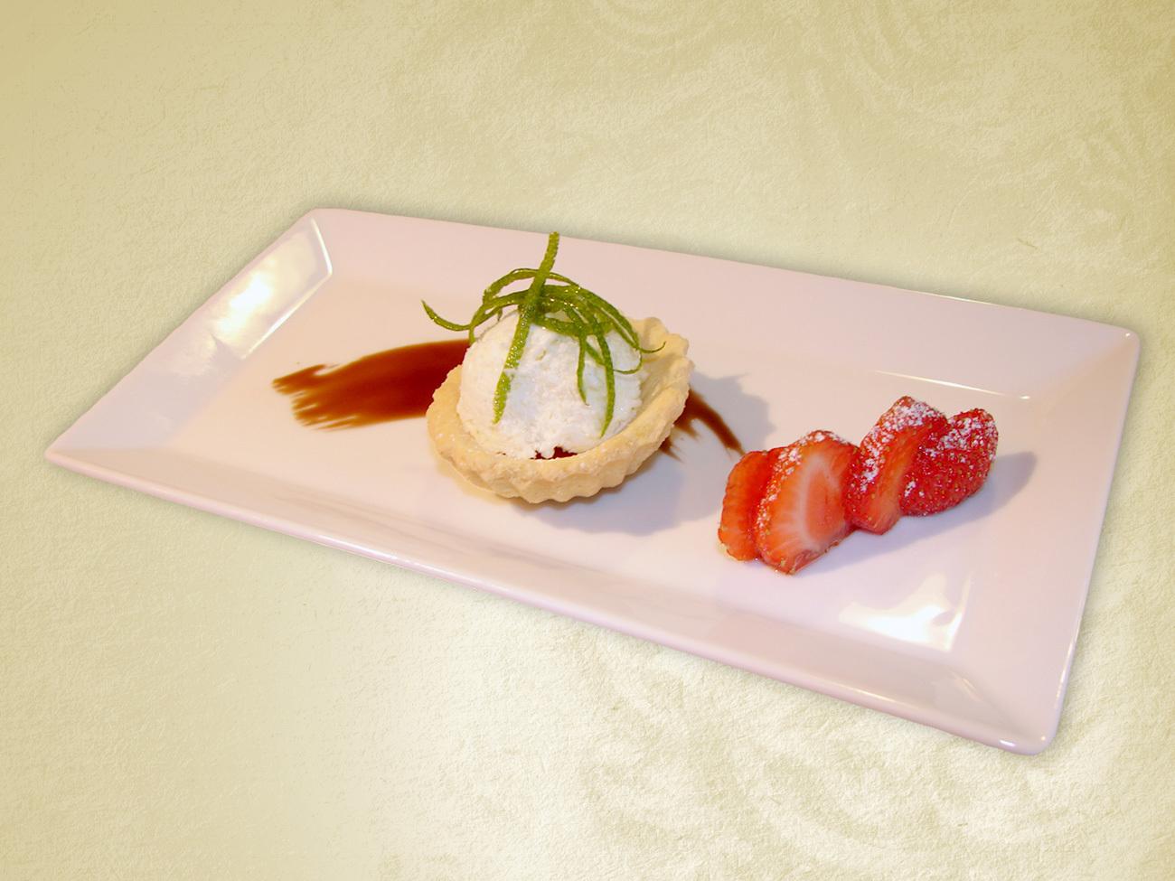 Fotografie receptu: Citrónový sorbet s ovocným coulis a čokoládou