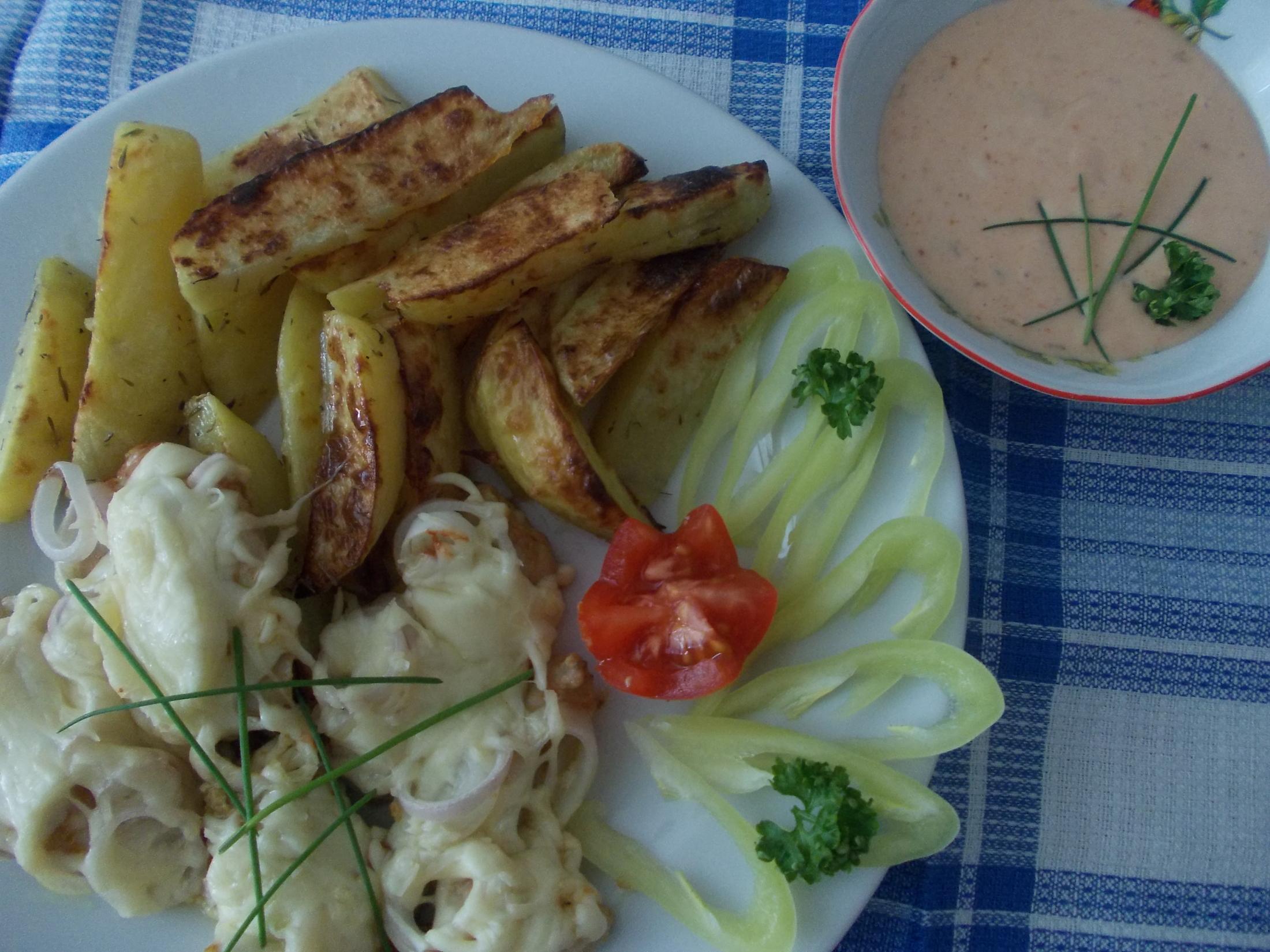 Farářovo tajemství s pečenými brambory a ďábelskou omáčkou
