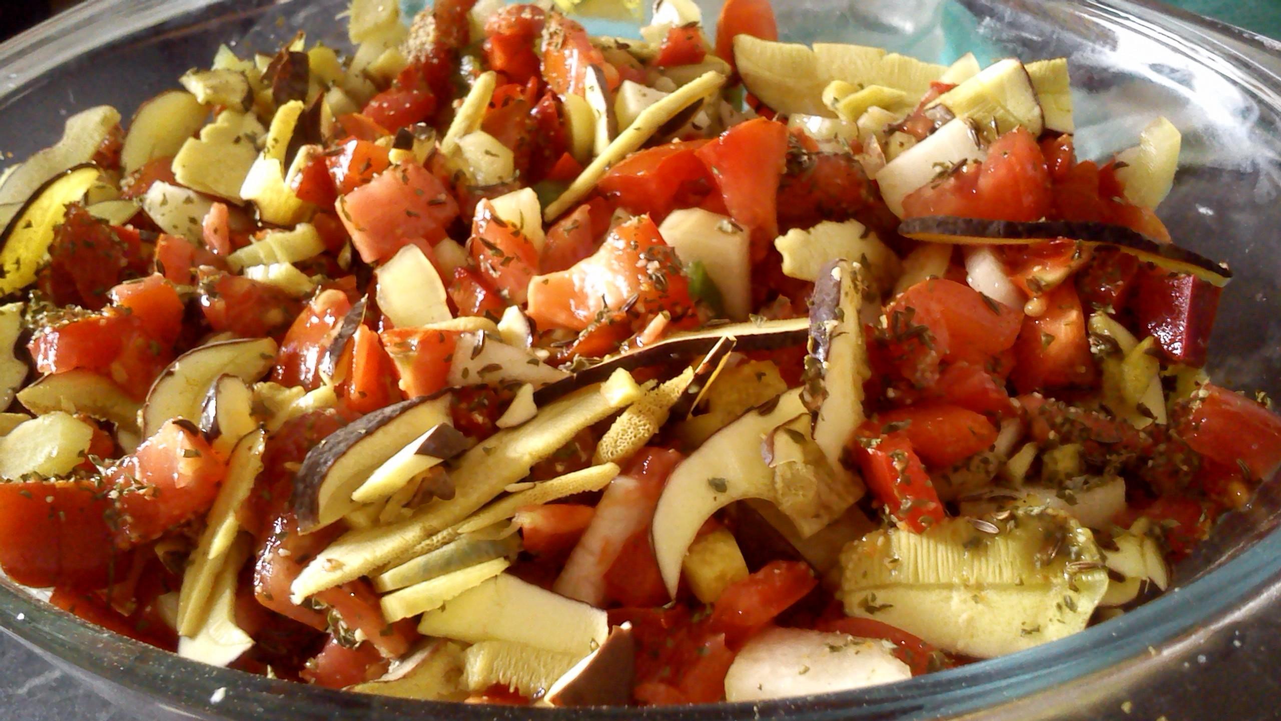 Pečená zelenina s houbami