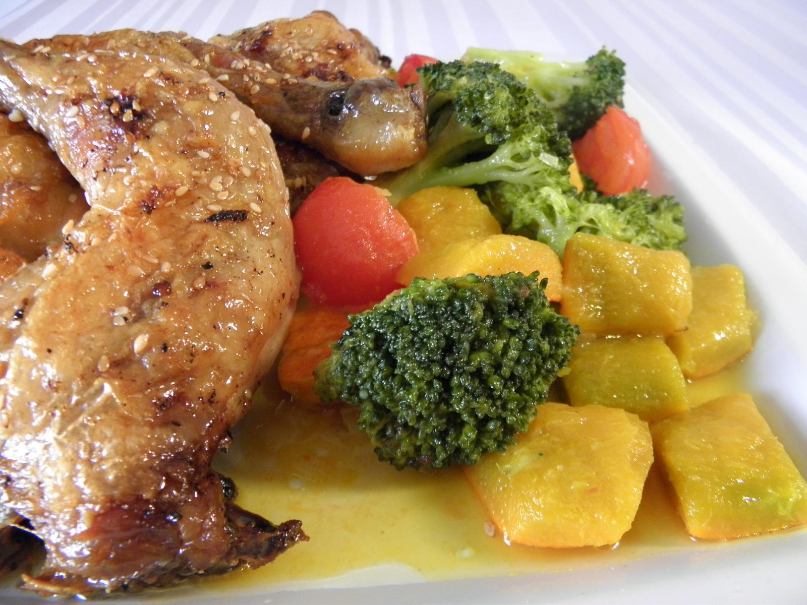 Kuřecí čtvrtky s dýní a brokolicí