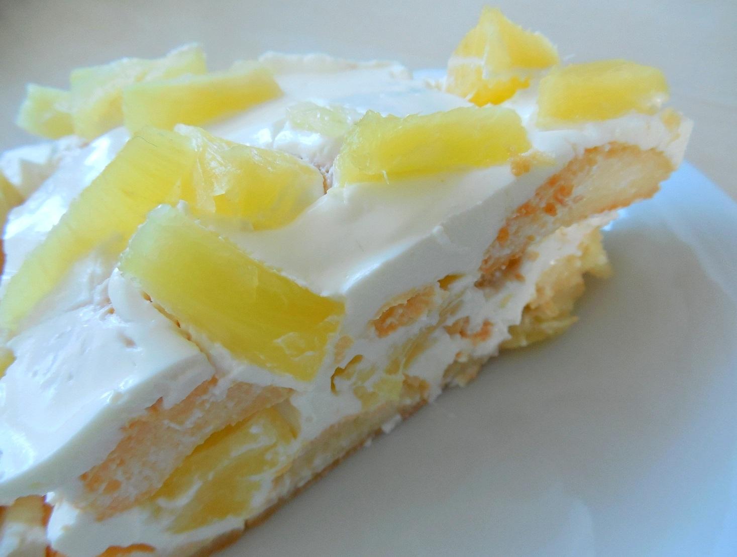 Fotografie receptu: Rychlý nepečený ananasový dort