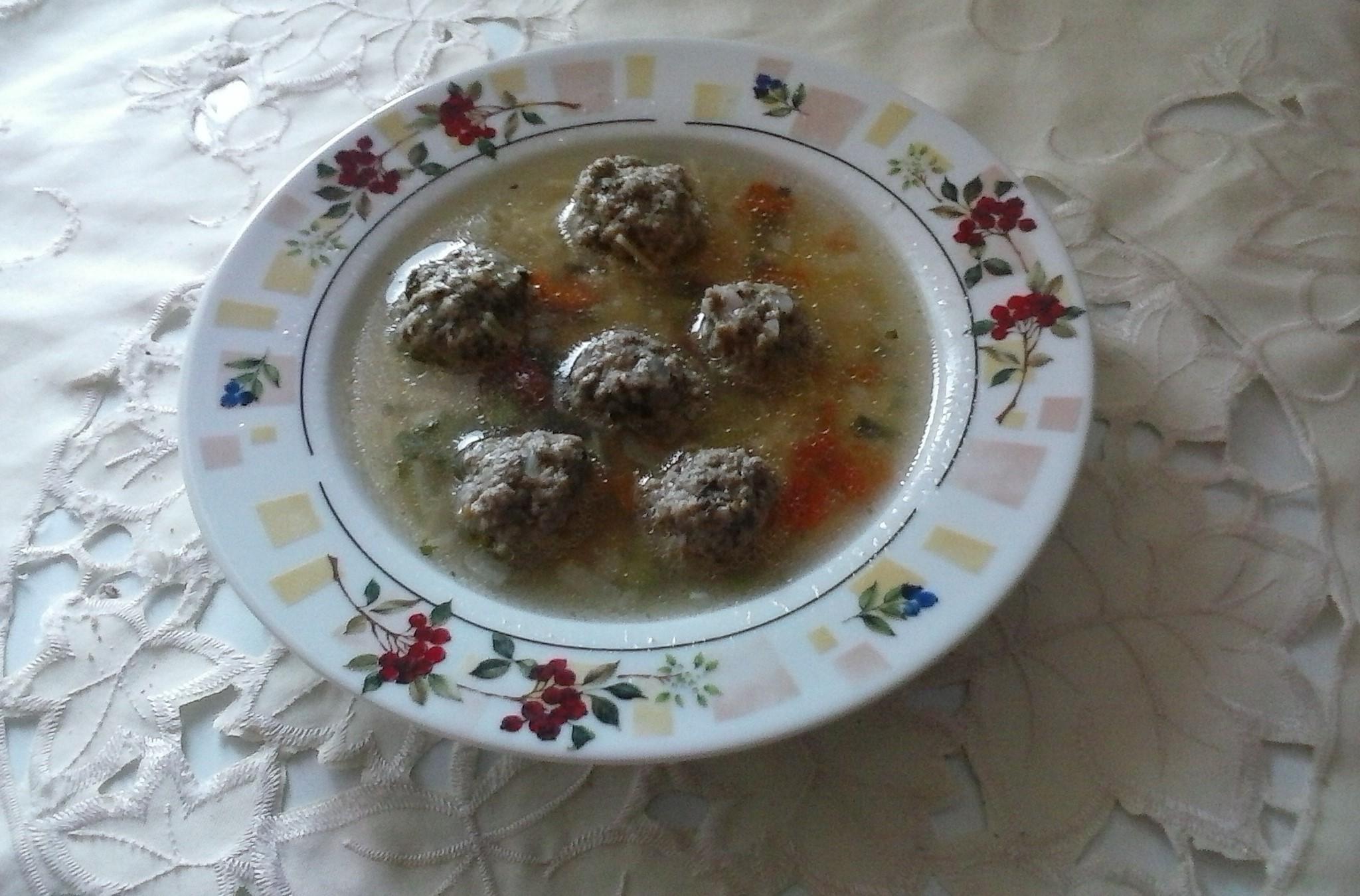 Polévka s mletým masem a zeleninou