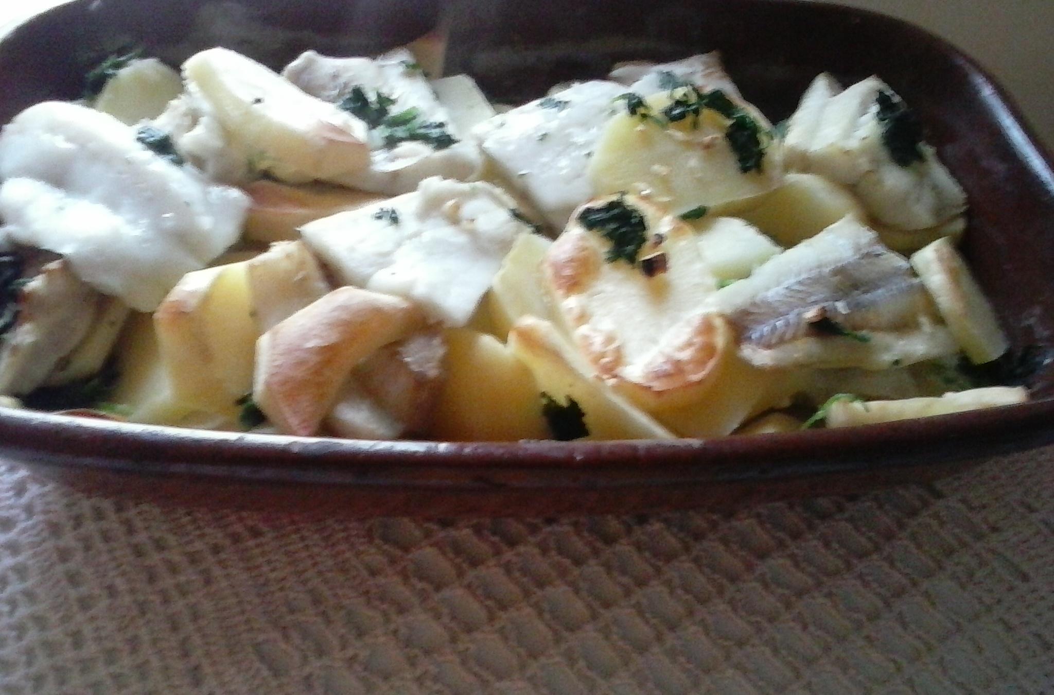Pečená treska s bylinkami a bramborem