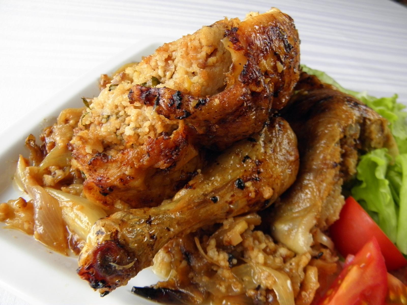 Kuře nadívané kuskusem a kaštany