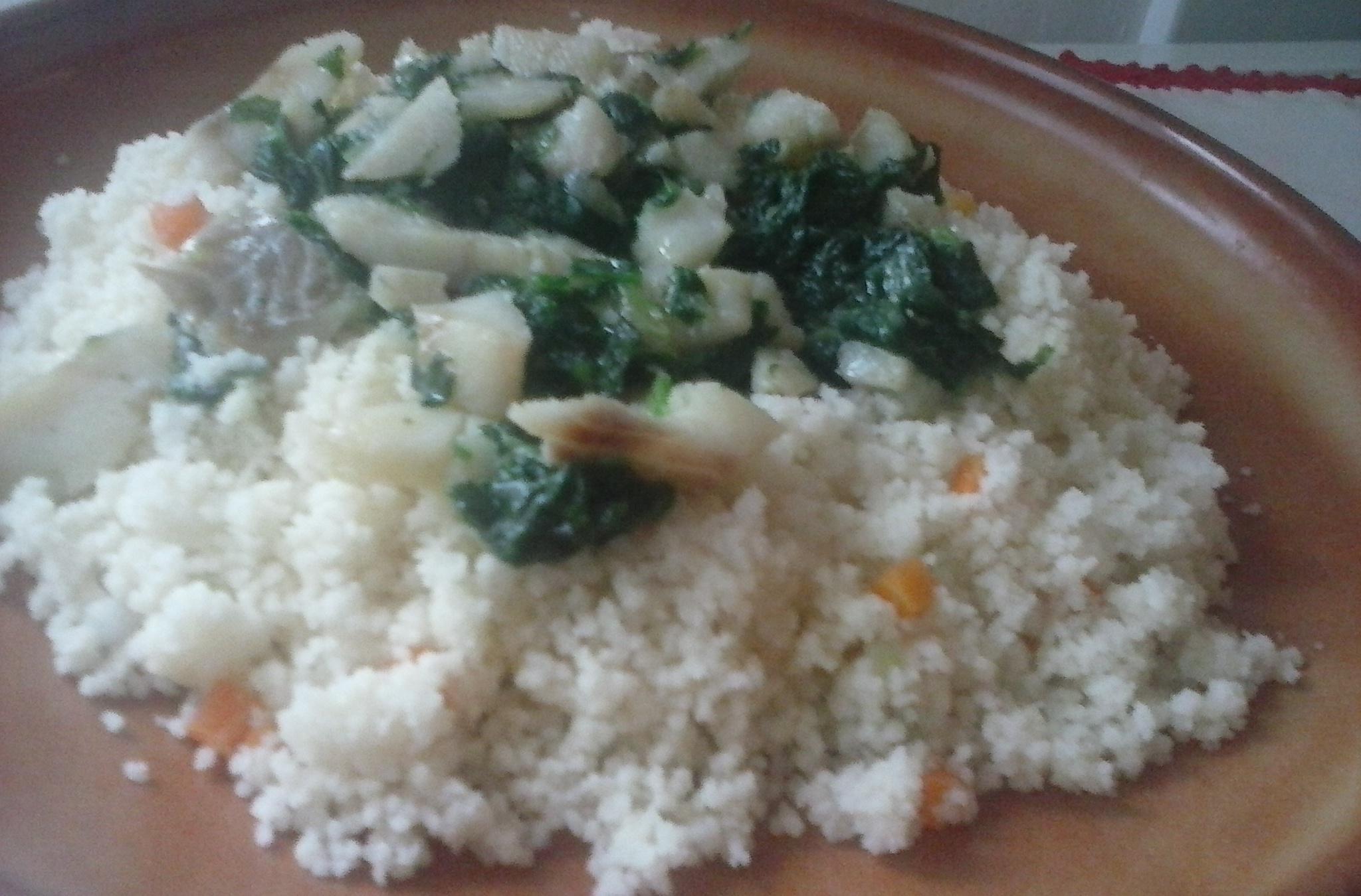 Fotografie receptu: Kuskus s treskou a špenátem