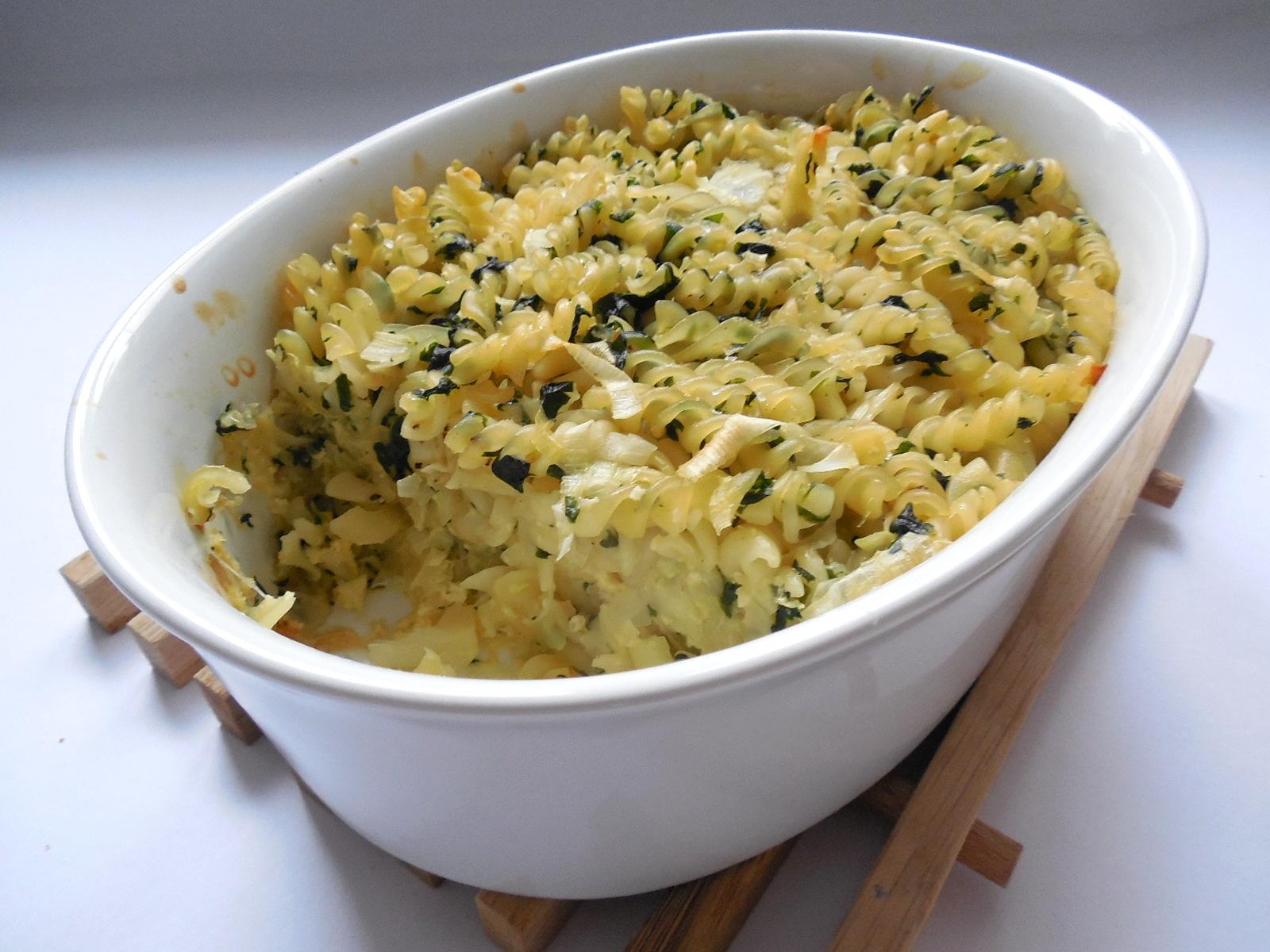 Zapékané těstoviny s čerstvým špenátem