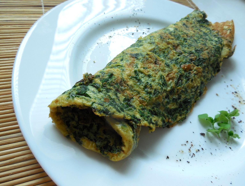 Vaječná omeleta s čerstvým špenátem