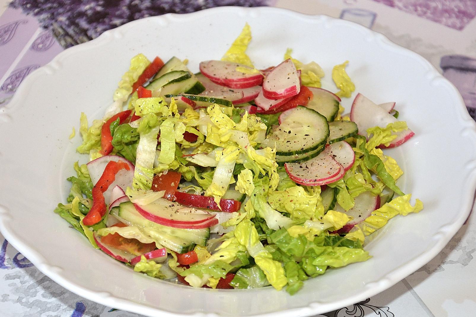 Salát s ředkvičkami, kapií, rajčaty a okurkou