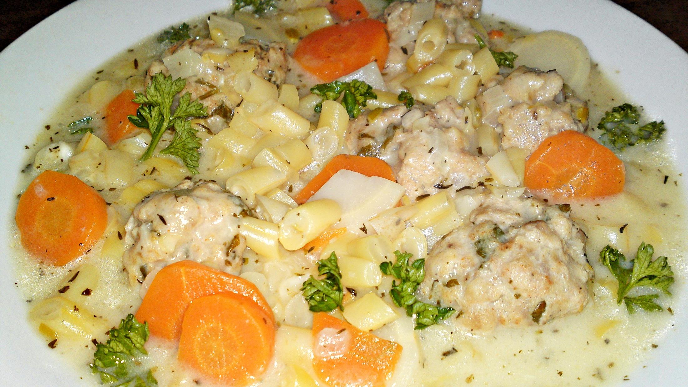 Fotografie receptu: Jogurtová polévka ze žluté máslové fazolky s knedlíčky z jehněčího masa
