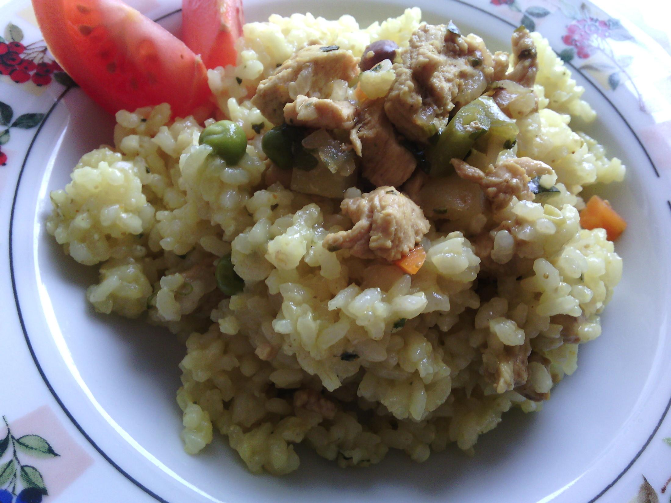 Smetanové rizoto s kuřecím masem a zeleninou