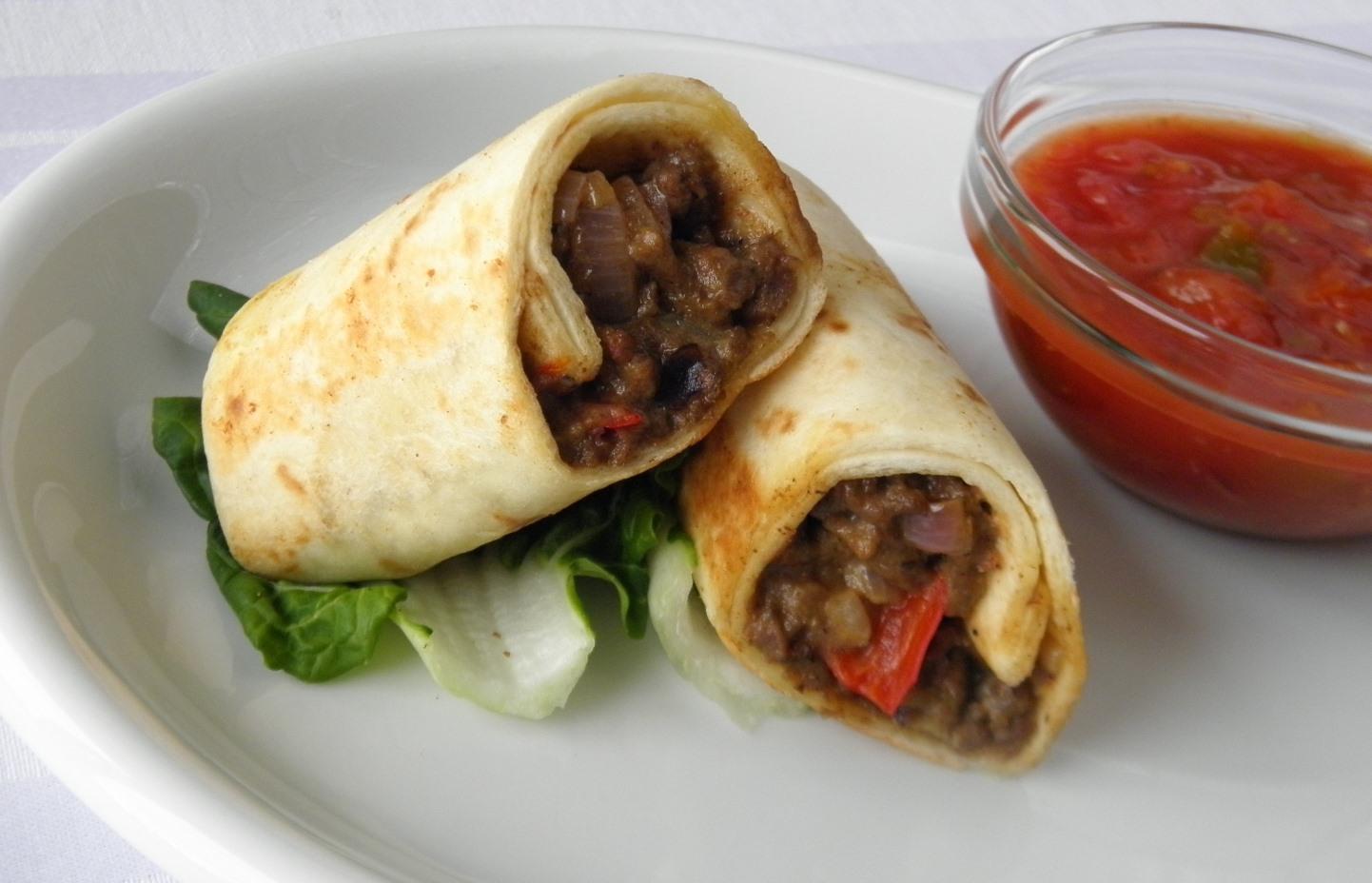 Domácí burrito s hovězím masem