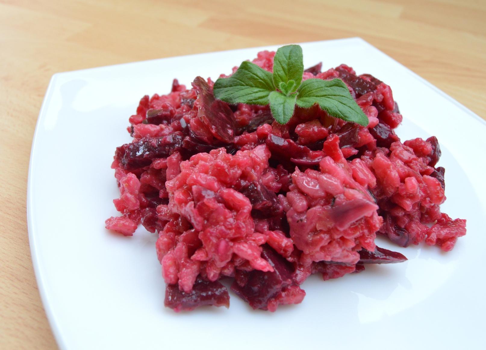 Italské risotto s červenou řepou