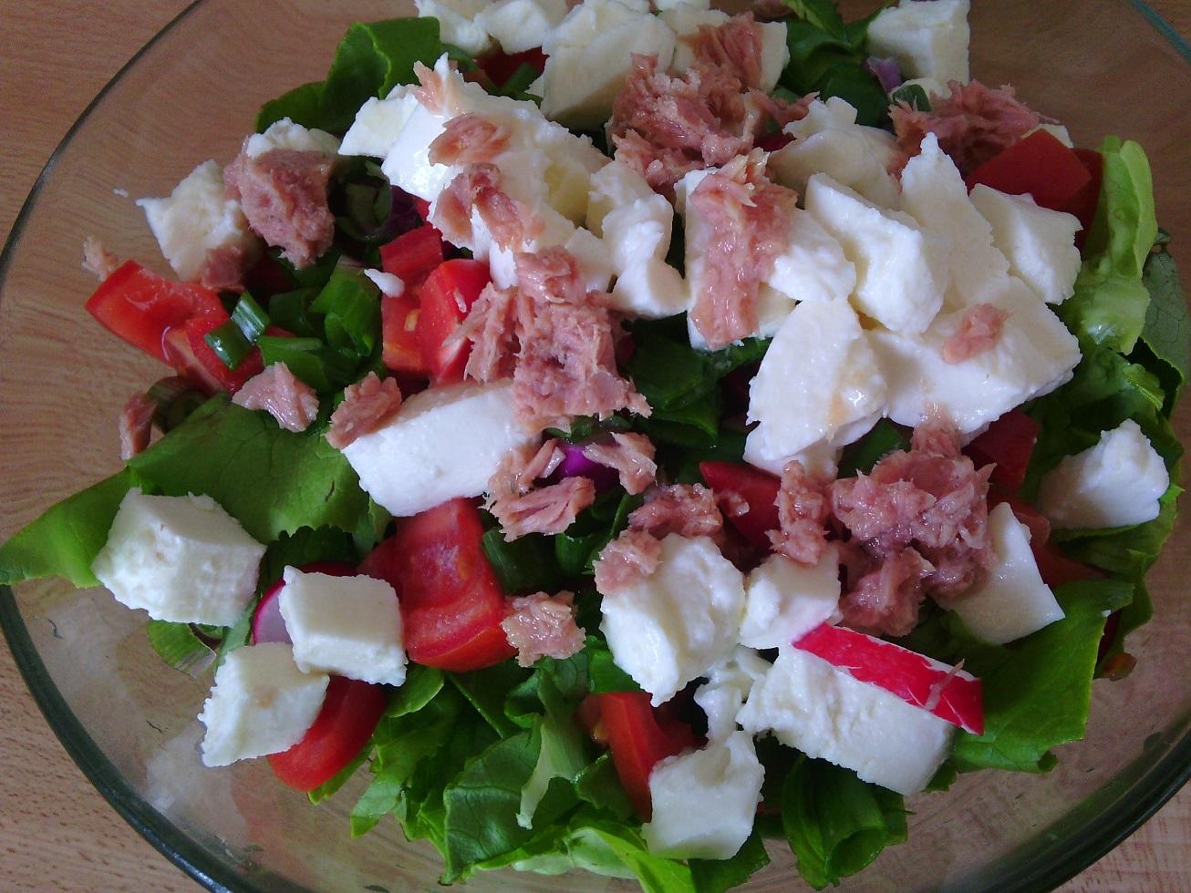 Míchaný salát s tuňákem a mozzarellou