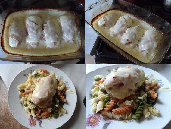 Plněná kuřecí prsa v sýrové omáčce