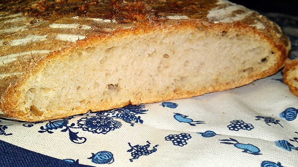 Domácí bílý ošatkový kváskový chléb