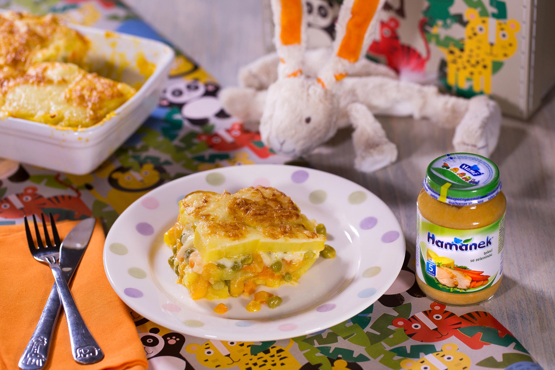 Zapečené francouzské brambory s telecím masem a zeleninou pro děti