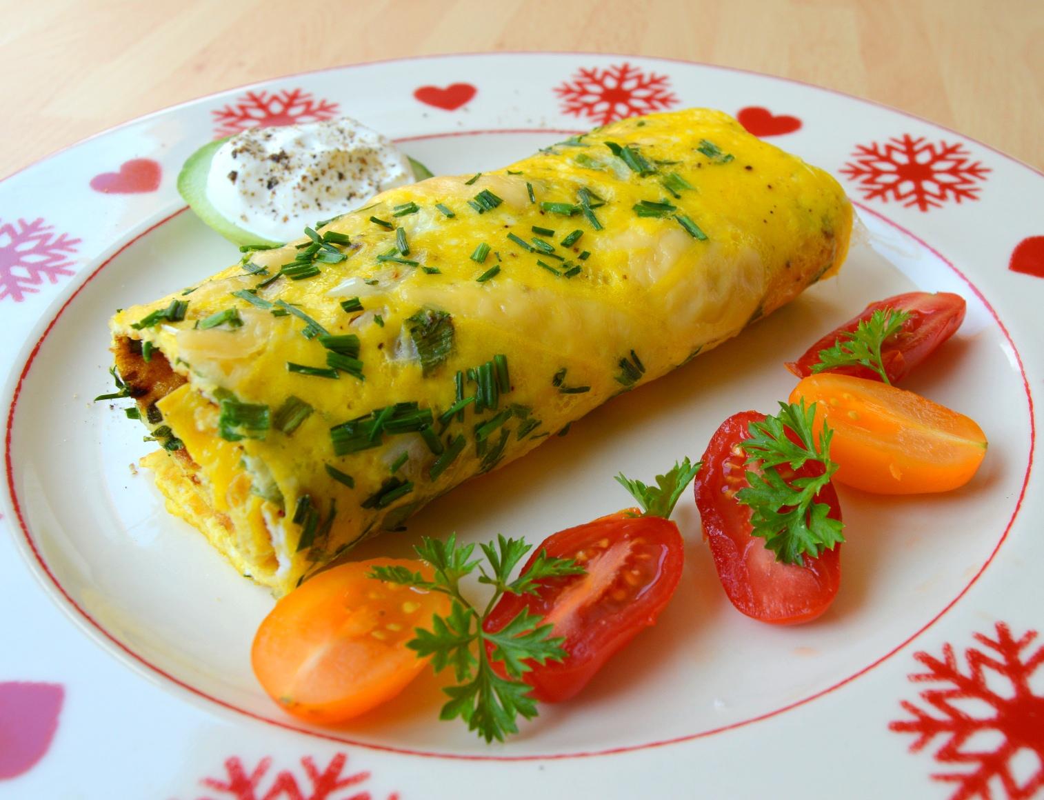 Sýrová omeleta s pažitkou