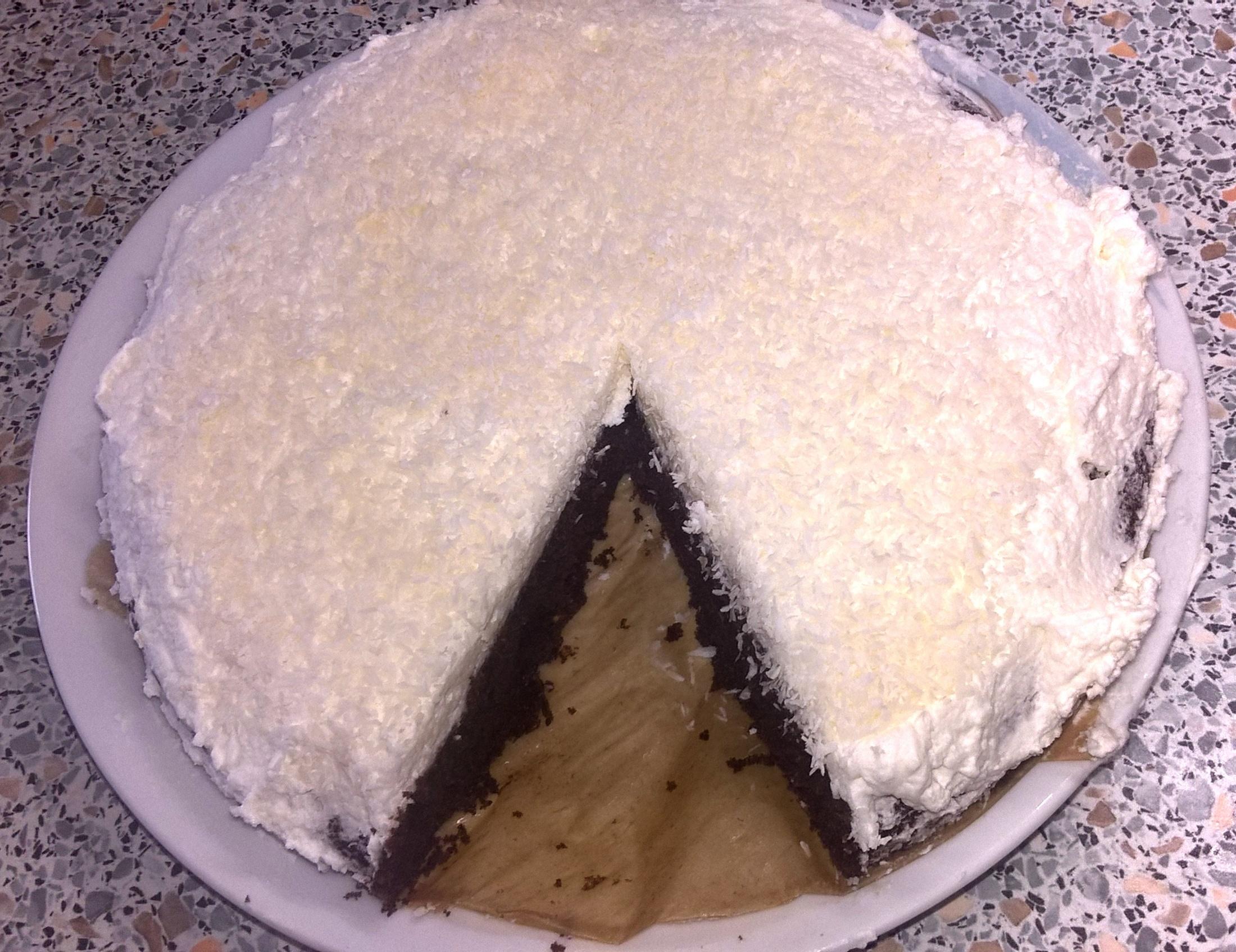 Černá a bílá - kokosovo-kakaový dort