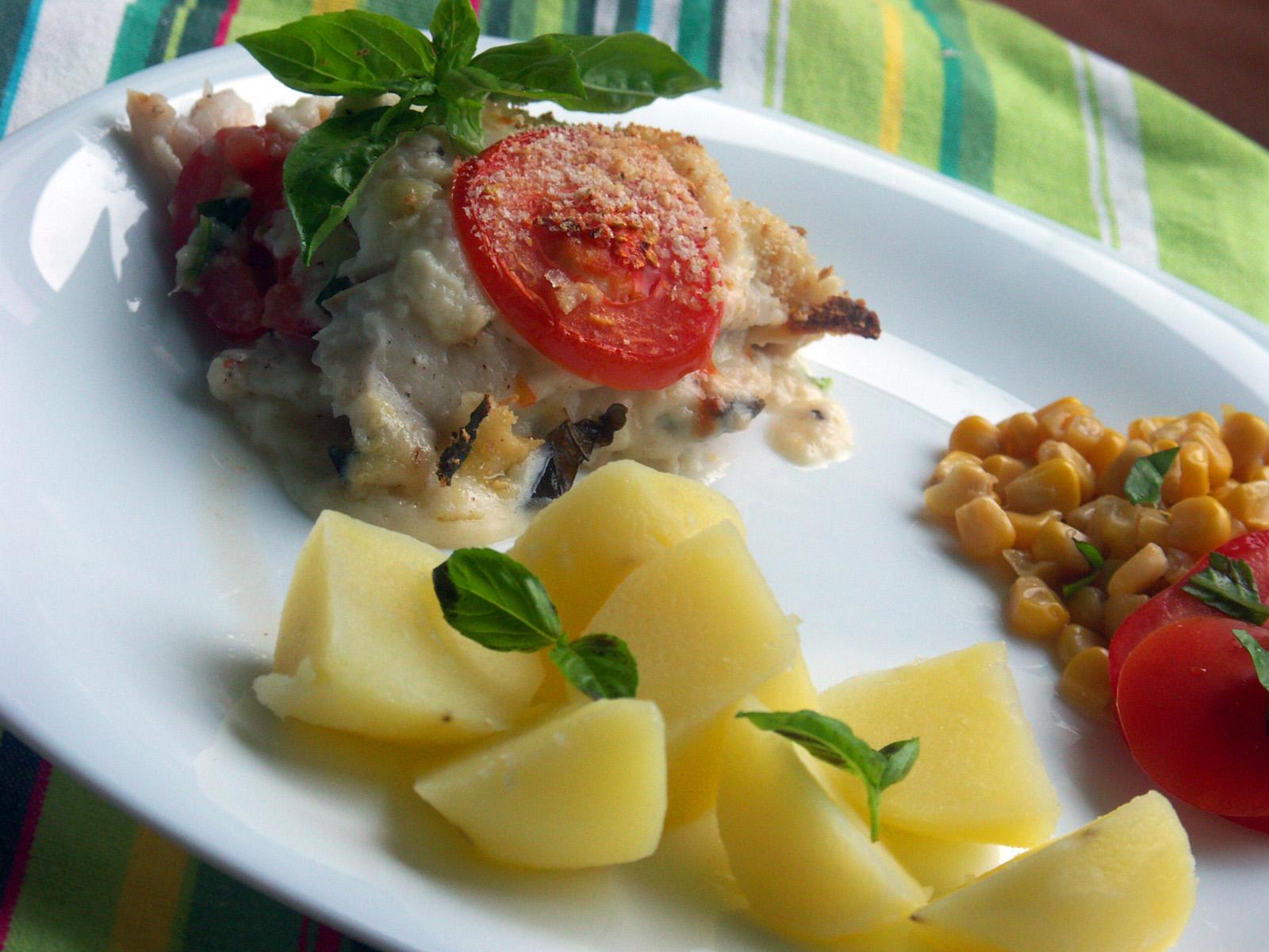 Zapečené rybí filety s rajčaty