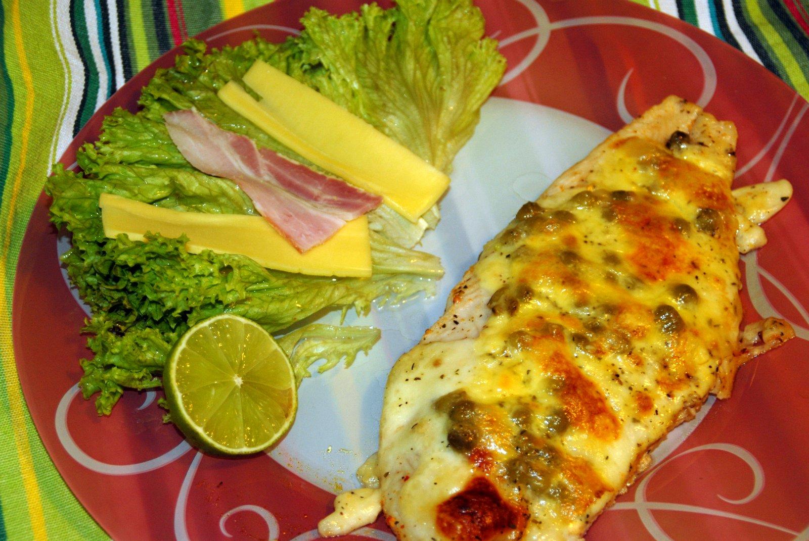 Pangasus zapečený se sýrem a kapary