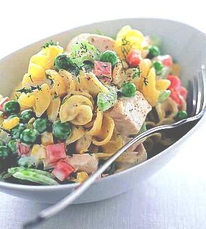 Těstovinový salát se zeleninou a šunkou