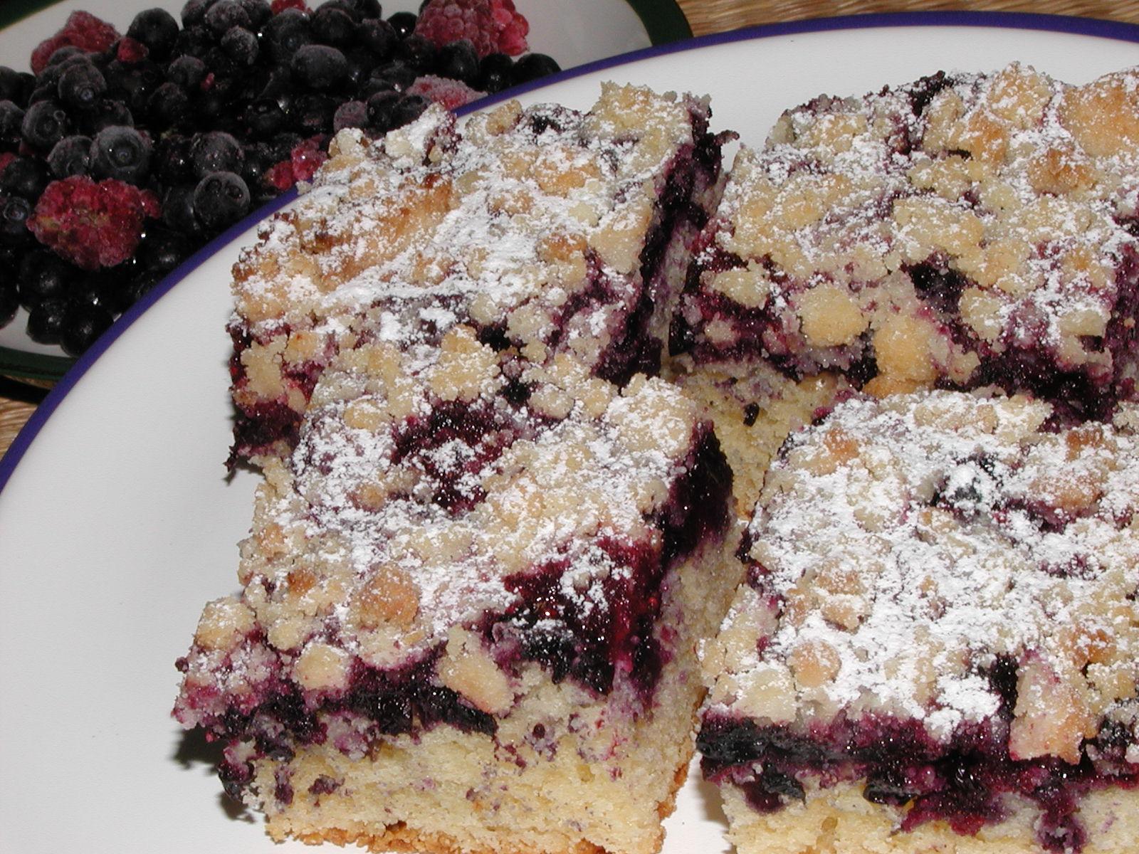 Litý koláč s borůvkami