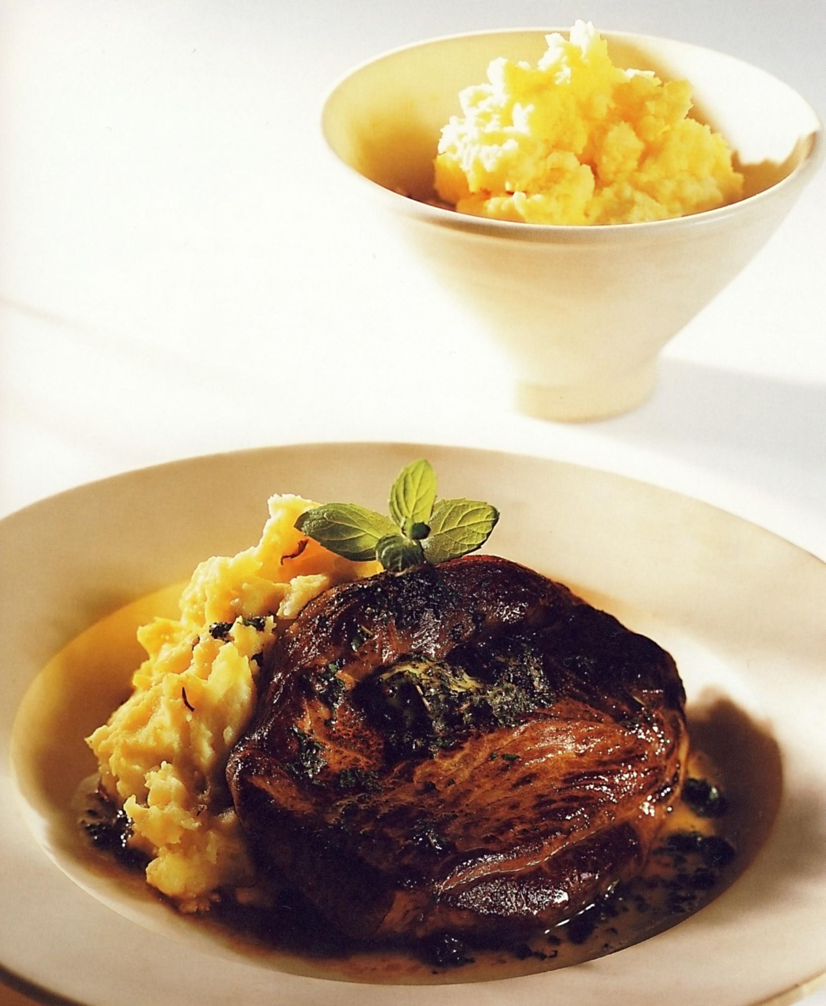 Fotografie receptu: Jehněčí s mátovým máslem a kaší